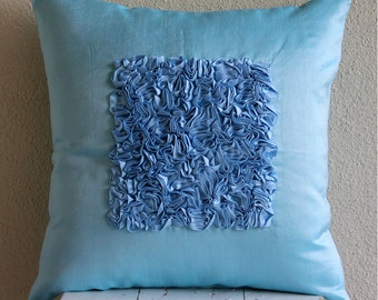 Throw Pillow Covers Accent Pillow Decorative Pillow Couch Sofa Bed Pillow 16x16 Inch Blue Silk Pillow Cover Ribbon Embroidered Sky Blue Love