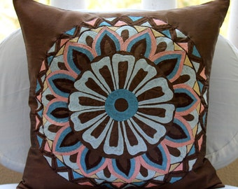 """Handmade  Multicolor Embroidered Pillows Cover, Brown Cushion Covers Silk Pillow Covers, Square  20""""x20"""" - Moroccan Style"""