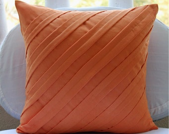 "Orange Pillow Covers, 16""x16"" Faux Suede Pillows Covers For Couch, Square  Textured Pintucks Solid Color Pillow Covers - Contemporary Orange"