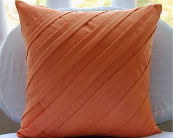 Contemporary Orange - Euro Sham Covers - 26x26 Inches Suede Euro Sham Cover in Orange Color