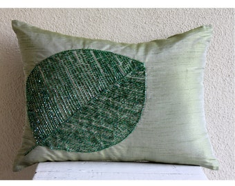 Green Leaf - Oblong Throw Pillow Covers - 12x18 Inches Silk Pillow Cover in with Bead Embroidery