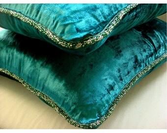 Royal Peacock Green Shimmer - Pillow Sham Covers - 24x24 Inches Velvet Pillow Sham Cover with a Handmade Beaded Border