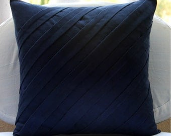 "Handmade Navy Blue Accent Pillows, 16""x16"" Faux Suede Pillow Covers, Square  Textured Pintucks Solid Color Pillows Cover - Contemporary Navy"