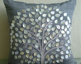 "Luxury Grey Throw Pillow Covers, 16""x16"" Silk Pillowcase, Square  Mother Of Pearls Tree Pillows Cover - Silver Hope Tree"