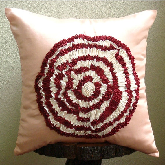 Decorative Throw Pillow Covers Accent Pillows Couch Sofa Pillow 16x16 Inch Red & White Ribbon Embroidered Pink Satin Pillow Cover Rosy Rose