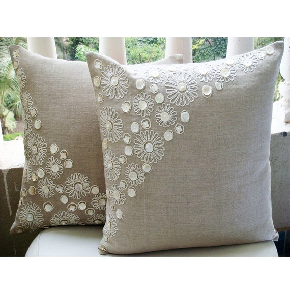 Decorative Pillows Homemade : thehomecentric - Luxury Ecru Pillow Cases, Pearl Flower Mother Of Pearls Floral Theme Pillows ...