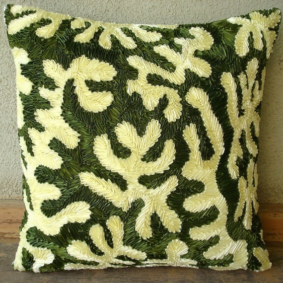 thehomecentric - Handmade Green Throw Pillows Cover, 16