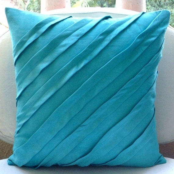 Sofa Pillows Contemporary: Contemporary Turquoise Throw Pillow Covers 16x16 Inches