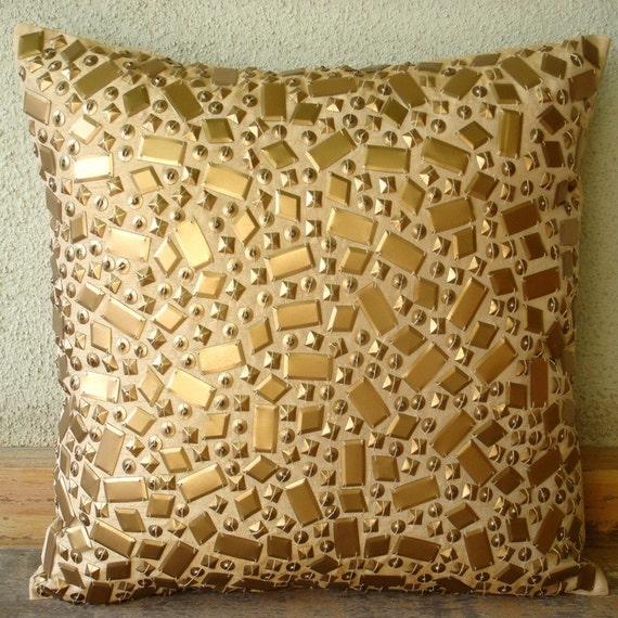 "Handmade Gold Accent Pillows, 16""x16"" Silk Pillowcase, Square  3D Sequins Pillows Cover - Melodrama"