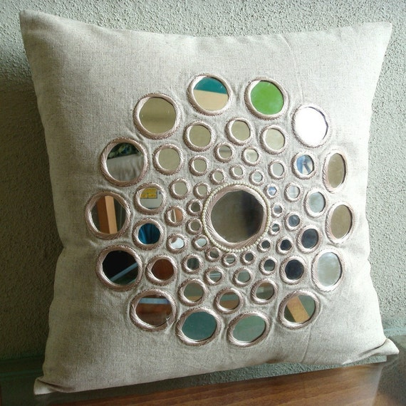 Circle Of Life - Pillow Sham Covers -  24x24 Inches Cotton Linen Pillow Sham Cover with Mirror Embroidery