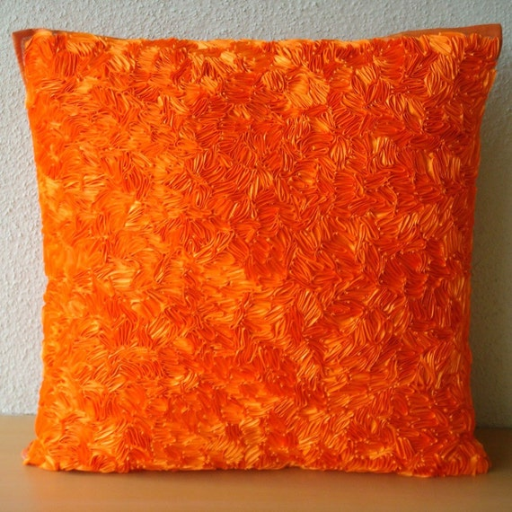 Orange Peel - Euro Sham Covers - 26x26 Inches Silk Pillow Cover with Satin Ribbon Embroidery