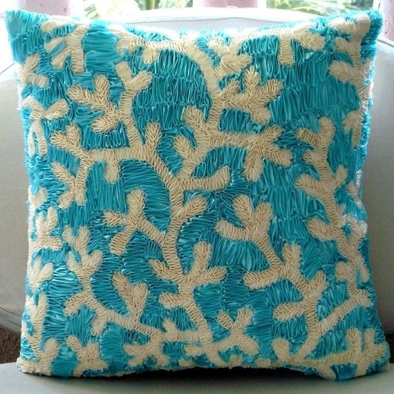 Aqua Ornate - Throw Pillow Covers - 20x20 Inches Silk Pillow Cover with Satin Ribbons Embroidery