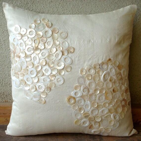 Pearl Drops - Pillow Sham Cover - 24x24 Inches Silk Pillow Sham Cover with Mother Of Pearl Embroidery