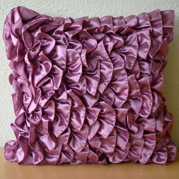 Vintage Vines- Throw Pillow Sham Covers - 24x24 Inches Satin Pillow Sham Cover with Satin Vine Ruffles