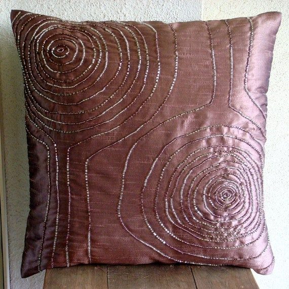 Wine Spirit - Euro Sham Covers - 26x26 Inches Silk Dupioni Euro Sham Cover with Bead Embroidery