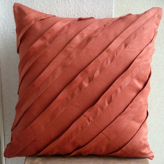 """Luxury Rust Pillow Cases, 16""""x16"""" Faux Suede Pillow Covers, Square  Textured Pintucks Solid Color Pillows Cover - Contemporary Rust"""