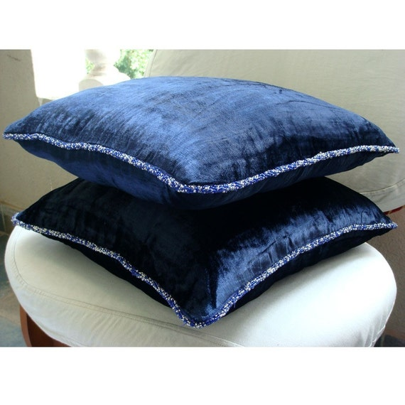 Decorative Throw Pillow Covers Accent Pillow Couch Pillow Bed Pillow Sofa Pillow 20x20 Navy Velvet Pillow Case with Bead Cord Navy Shimmer