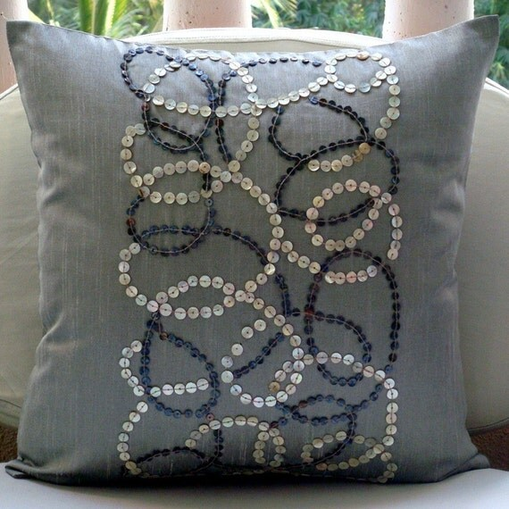 """Luxury Grey Decorative Pillow Cover, 16""""x16"""" Silk Pillow Covers, Square  Spiral Mother Of Pearls Pillow Covers - Pearl Swirls"""