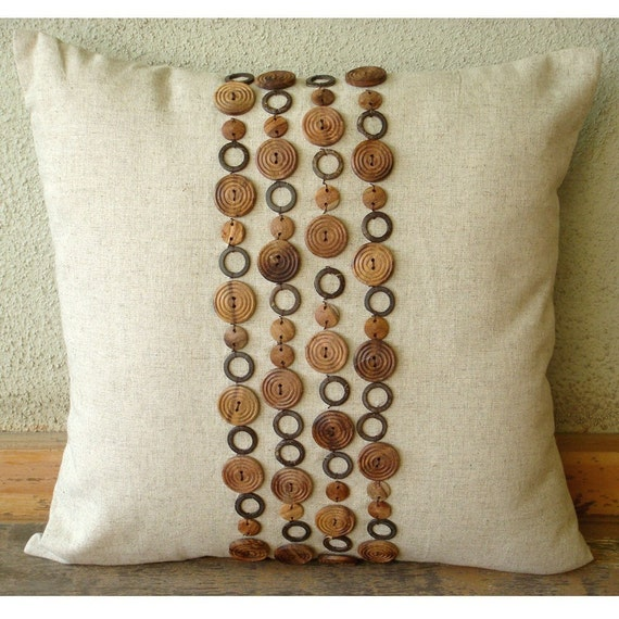 Decorative Throw Pillow Covers Accent Couch Sofa Toss Bed Pillows 16x16 Linen Pillow Wood Beads Embroidered Home Decor Housewares Wood Space
