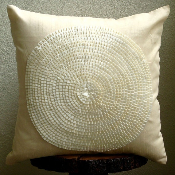Ivory Decorative Pillows Cover Square Ribbon Art Work