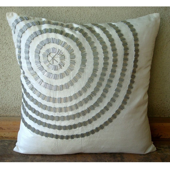 Luxury White Decorative Pillow Cover 16x16 Silk
