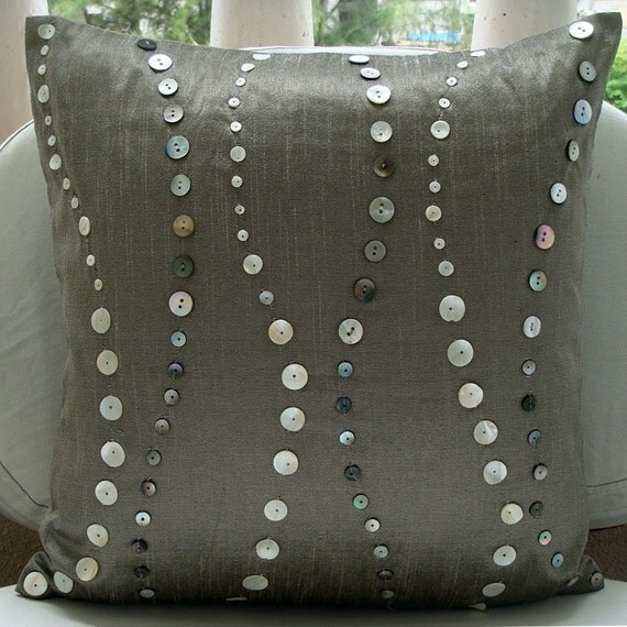 """Designer Grey Decorative Pillow Cover, 16""""x16"""" Silk Pillows Cover, Square  Mother Of Pearls Pillowcases - Climbing to the Sky"""