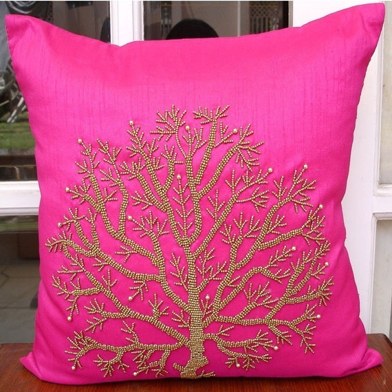 Fuchsia Tree Of Life - Pillow Sham Covers - 24x24 Inches Silk Pillow Sham Cover with Bead Embroidery