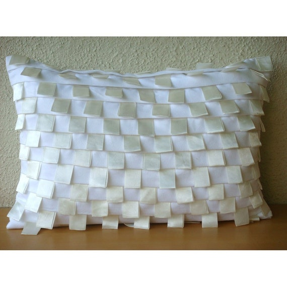 Decorative Oblong/Lumbar Throw Pillow Cover Couch Sofa Pillow Toss Pillow 12x16 Inch White Suede Ribbon Embroidery White Harmony Home Living