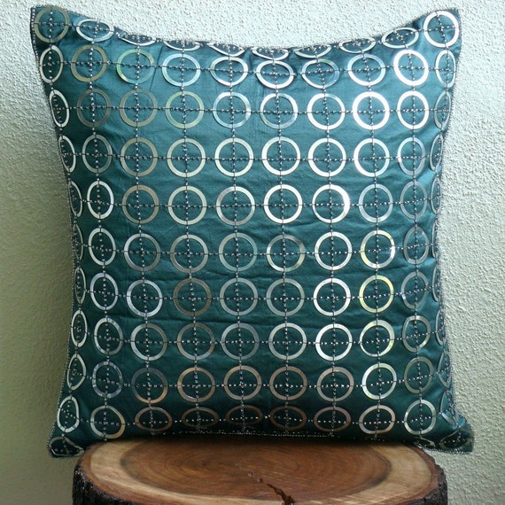 Throw Pillow Covers Teal : Teal N Silver Rings Throw Pillow Covers 20x20 Inches Silk