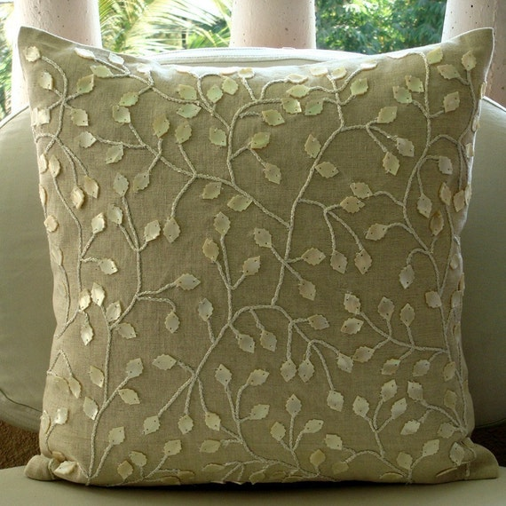Decorative Throw Pillow Covers Accent Couch Sofa Pillows 20x20 Sham Pillow Linen Jute Pearl Embroidered Home Decor Living - Vintage Garden
