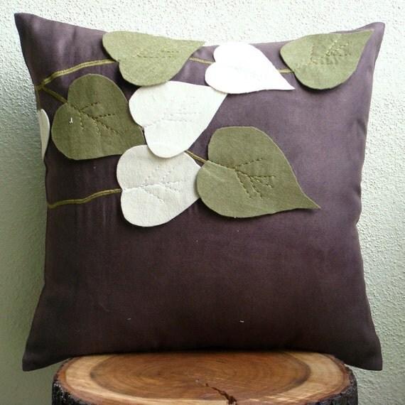Designer brown throw pillow covers leaf felt applique - Fundas cojines sofa ...