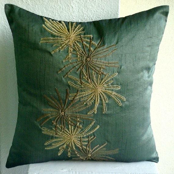 luxury dark green throw pillows cover 16x16 silk. Black Bedroom Furniture Sets. Home Design Ideas