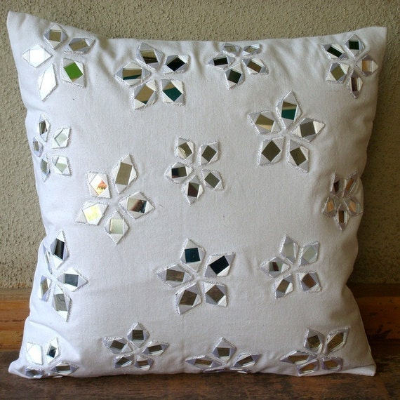 Floral Lake Pillow Sham Covers 24x24 Inches Cotton Canvas Pillow Sham Cover in White with Mirror Embroidery