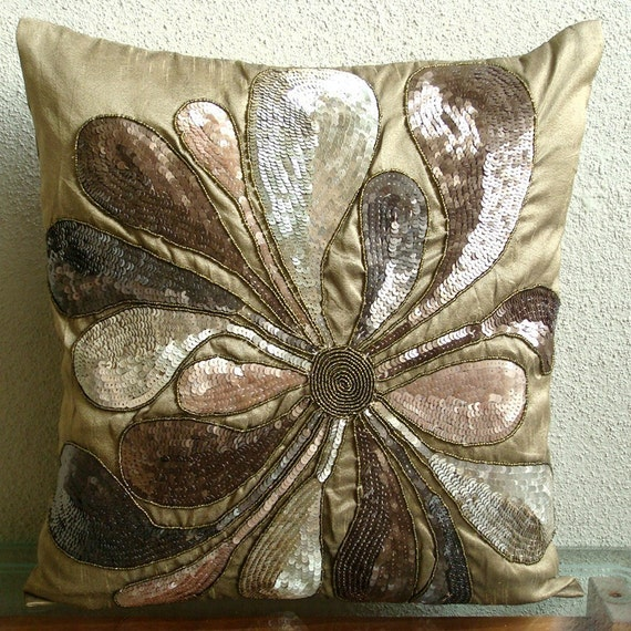"Handmade Earth Gold Pillows Cover, 16""x16"" Silk Throw Pillows Cover, Square  Botanical Metallic Sequins Pillows Cover - Exotica"