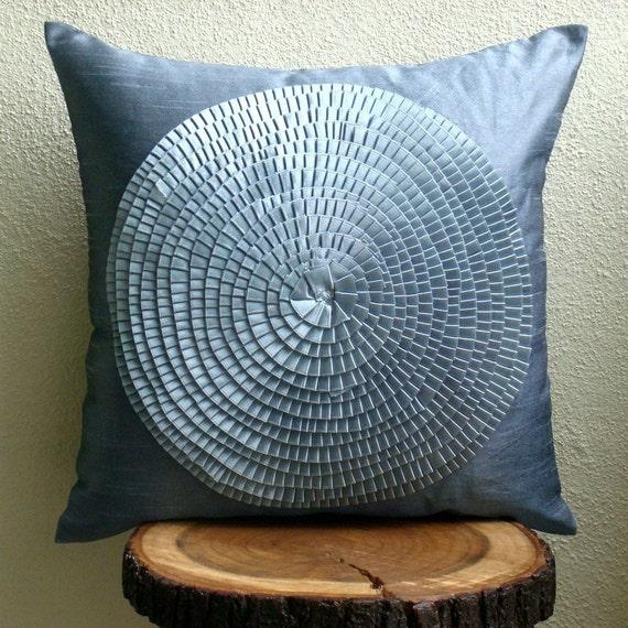 "Designer Grey Decorative Pillows Cover, 16""x16"" Silk Throw Pillows Cover, Square  Ribbon Art Work Medallion Pillows Cover - Vintage Adorned"
