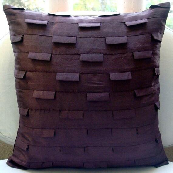 "Designer  Plum Accent Pillows, Pintucks Textured Throw Pillows Cover Square  18""x18"" Silk Pillows Cover - Plum Ocean"