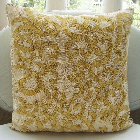 Magnificent Awe - Throw Pillow Covers - 18x18 Inches Pillow Cover with Ribbon Embroidery