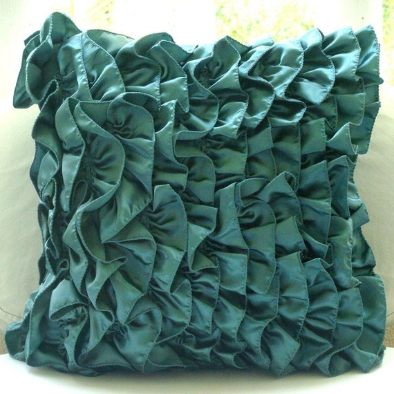 Decorative Throw Pillow Covers Couch Pillow Case Sofa Toss Bed Pillows 16x16 Teal Satin Ruffle Pillow Cover Home Living Decor Vintage Teals