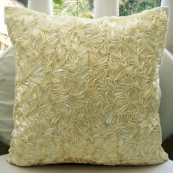 "Designer Ivory Throw Pillows Cover For Couch, 16""x16"" Silk Pillows Cover, Square  Textured Ribbon Pillows Cover - Thats Satin Ribbon"