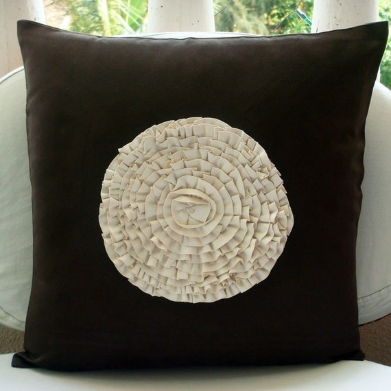 "Brown Decorative Pillow Cover, 16""x16"" Faux Suede Pillows Cover, Square  Vintage Style Frills Medallion Throw Pillows Cover-Vintage Blossoms"