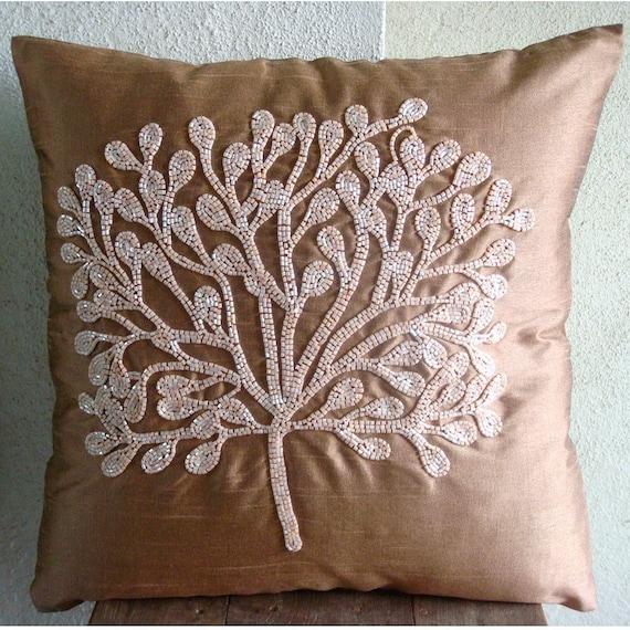 "Luxury Dark Peach Pillows Cover, 16""x16"" Silk Throw Pillows Cover, Square  Beaded Tree Pillowcases - My Wish Tree"