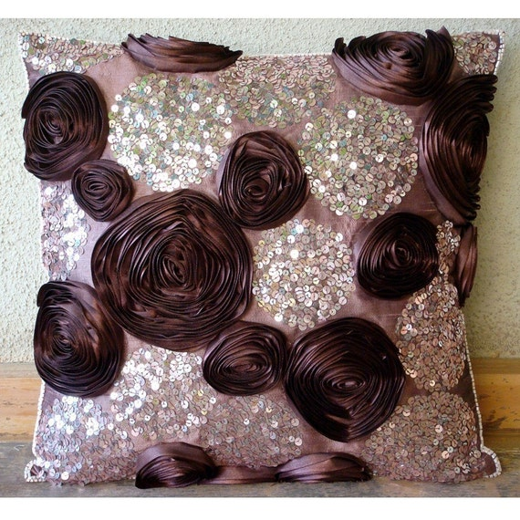 """Handmade Plum Throw Pillows Cover, 16""""x16"""" Silk Pillow Covers, Square  Ribbon Flowers Floral Theme Pillow Covers - Wine And Roses"""