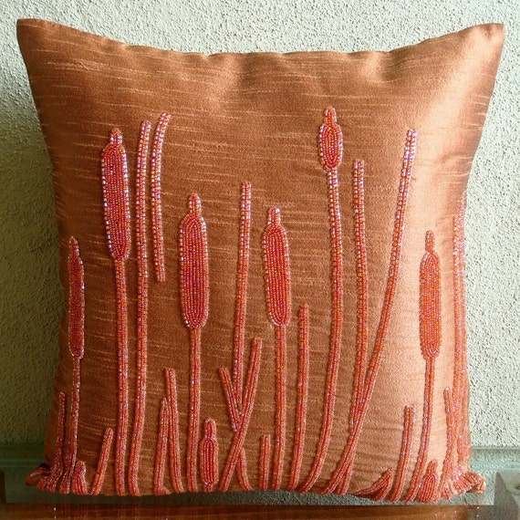 """Handmade Rust Throw Pillows Cover, 16""""x16"""" Silk Pillow Covers, Square  Beaded Farm Design Pillows Cover - Rusted Beauty"""