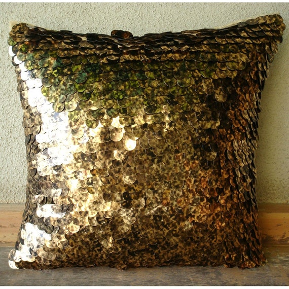 Decorative Throw Pillow Covers 16x16 Inches Silk Pillow Cover Embroidered Sequin Exotic Gold Black Scale Home Living Decor Housewares Accent