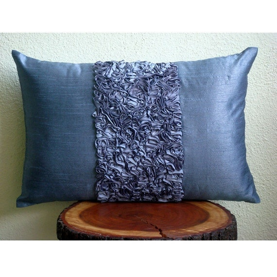 Decorative Oblong / Lumbar Rectangle Throw Pillow Covers Accent Pillow Couch Toss 12x16 Blue Silk Pillow Case Ribbon Embroidered Blue Love