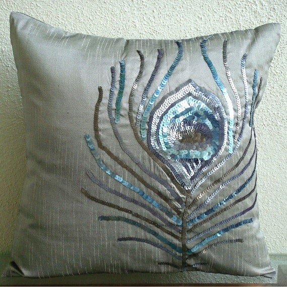 Decorative Pillow Covers Accent Pillows Couch Toss 16x16 Inch Silver Silk Pillow Cover Embroidered Home Decor Living Bedding Peacock Feather