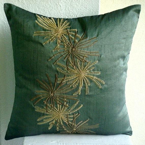 Green Foliage - Throw Pillow Covers - 18x18 Inches Silk Pillow Cover with Embroidery and Beads