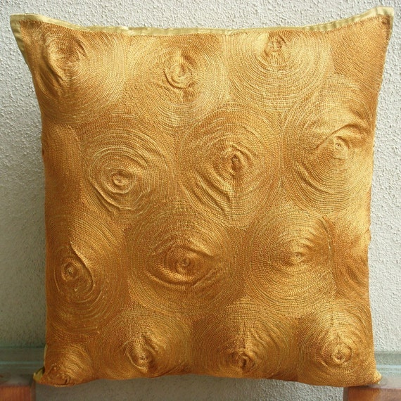 "Handmade  Gold Throw Pillows Cover For Couch, Embroidered Spiral Pillows Cover Square  18""x18"" Satin Throw Pillows Cover - Magical Threads"