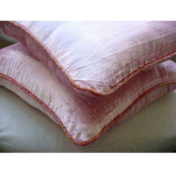 """Designer Light Pink Pillows Cover, 16""""x16"""" Velvet Pillows Covers For Couch, Square  Solid Color Beaded Cord Pillows Cover -Soft Pink Shimmer"""