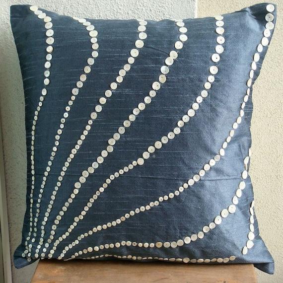 Handmade Slate Blue Pillows Cover 16x16 Silk